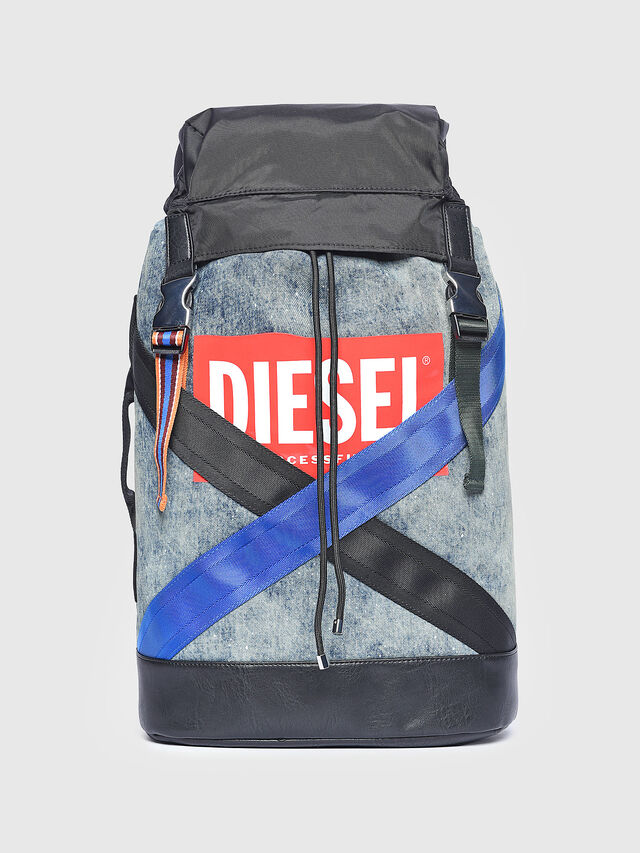Diesel - M-XX BACK, Melange Blue - Backpacks - Image 1