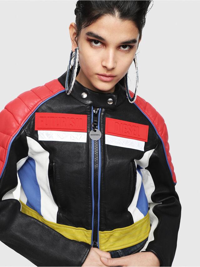 Diesel - L-SKYLAR, Multicolor/Black - Leather jackets - Image 5