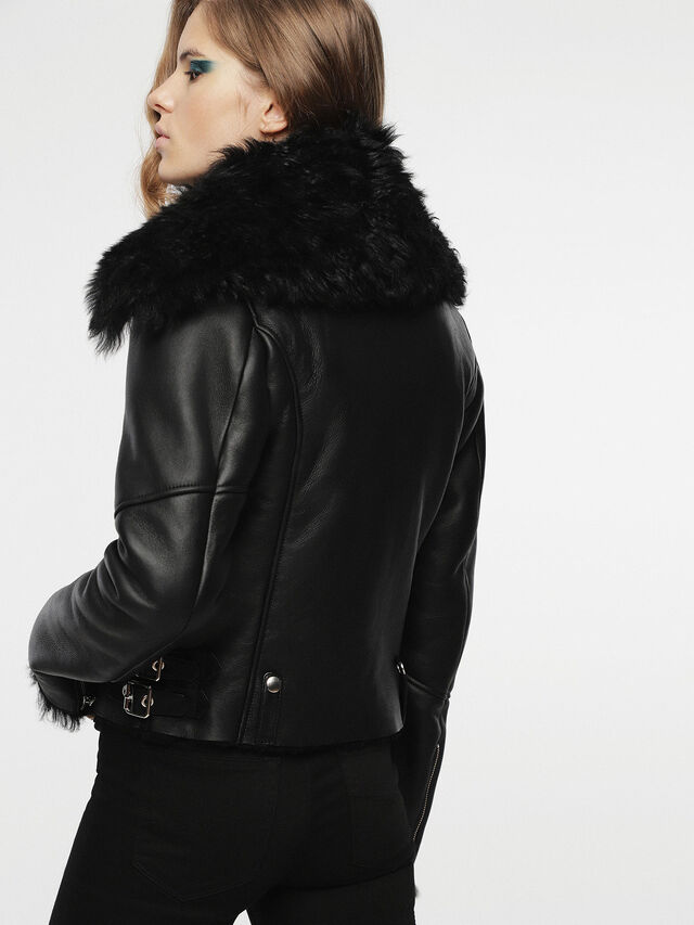 Diesel - L-TIA, Black Leather - Leather jackets - Image 2