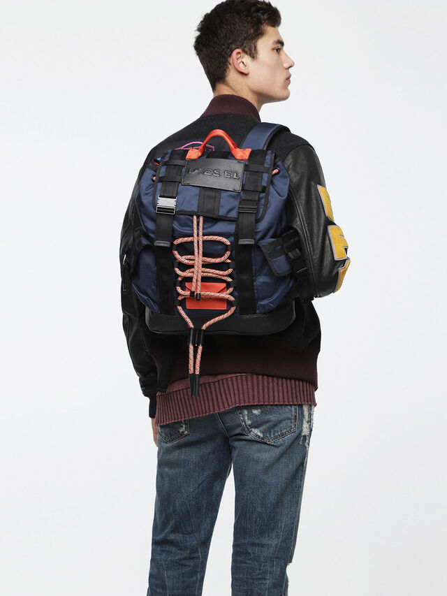 Diesel - M-CAGE BACK, Blue/Orange - Backpacks - Image 4