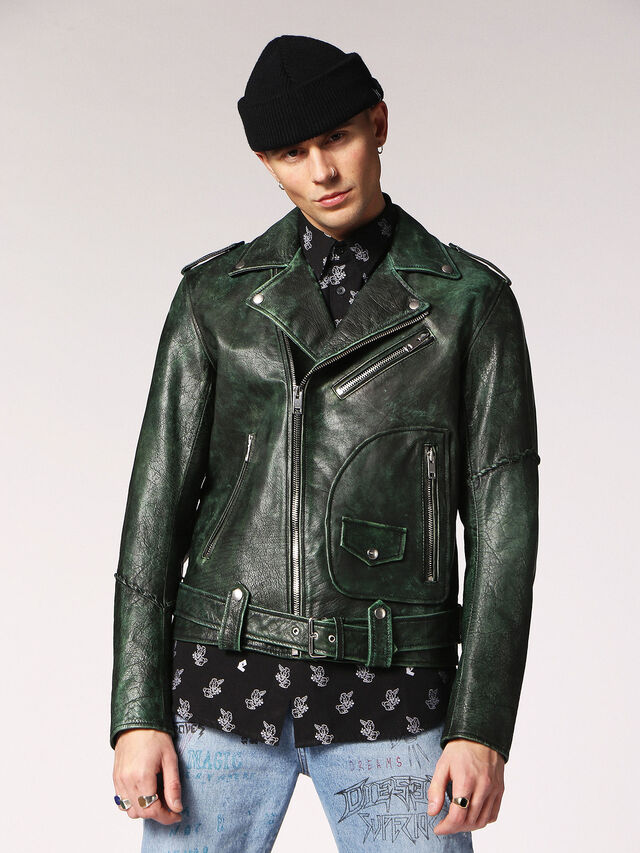 Diesel - L-GRIME, Dark Green - Leather jackets - Image 1