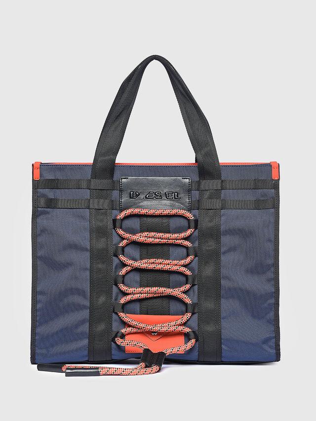 Diesel - M-CAGE SHOPPER, Blue/Orange - Shopping and Shoulder Bags - Image 1