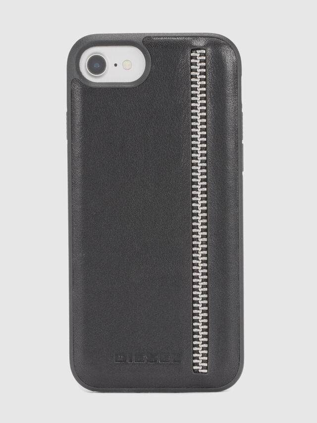 Diesel - ZIP BLACK LEATHER IPHONE 8 PLUS/7 PLUS/6s PLUS/6 PLUS CASE, Black - Cases - Image 2