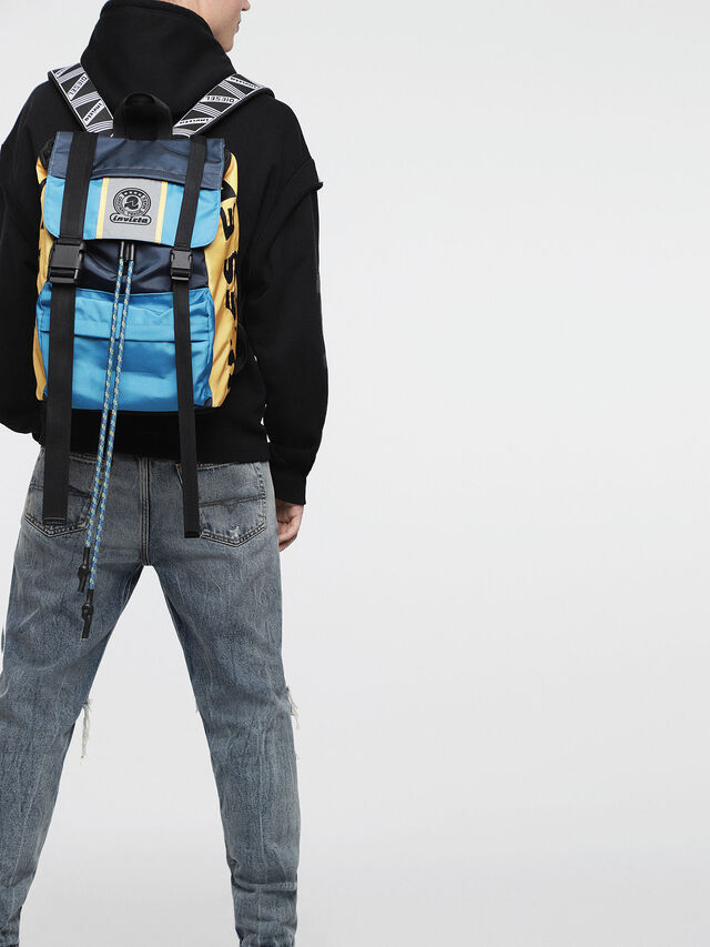 Diesel - M-INVICOLAB BACK I, Blue/Yellow - Backpacks - Image 4
