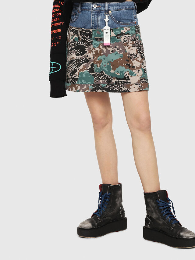 Diesel - O-CALI-A, Green Camouflage - Skirts - Image 1