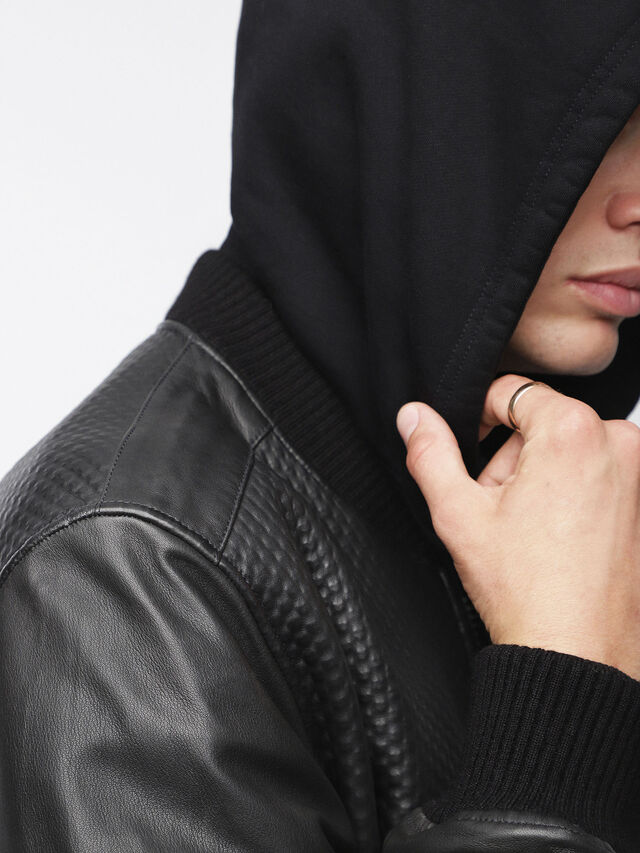 Diesel - L-NEWBON, Black Leather - Leather jackets - Image 5