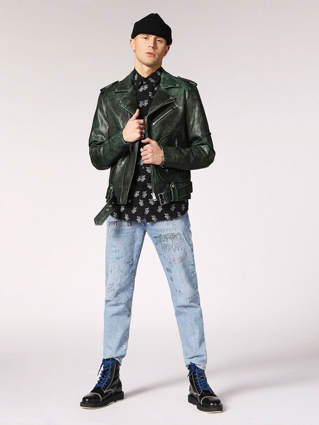 Diesel - L-GRIME, Dark Green - Leather jackets - Image 6