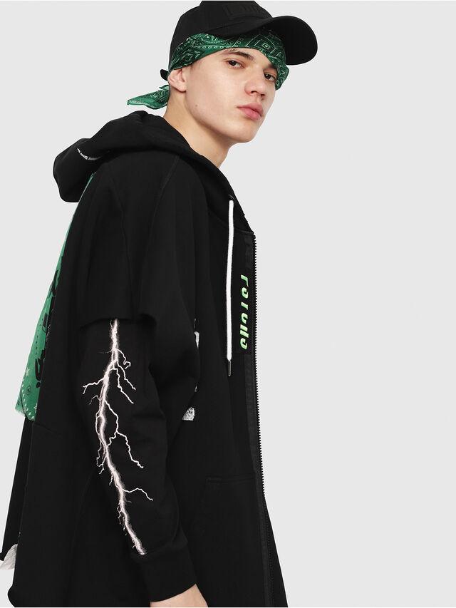 Diesel - S-MAKI-ZIP, Black/Green - Sweatshirts - Image 3