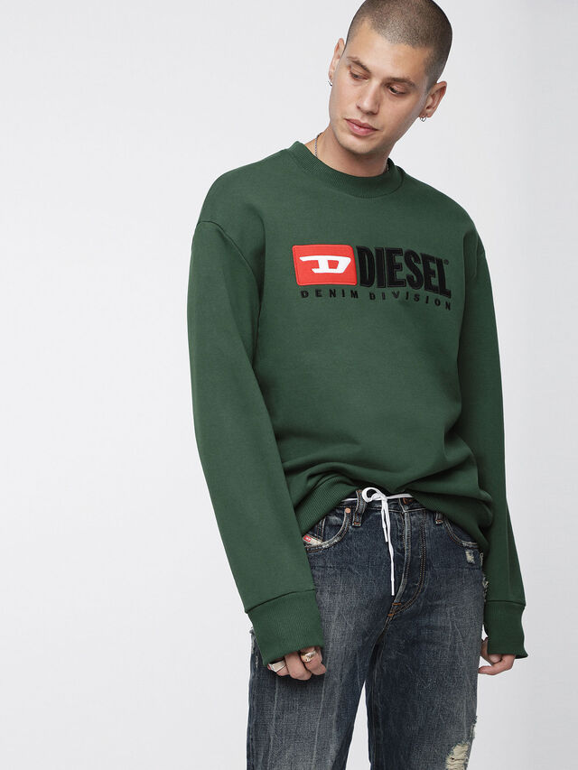 Diesel - S-CREW-DIVISION, Bottle Green - Sweatshirts - Image 1