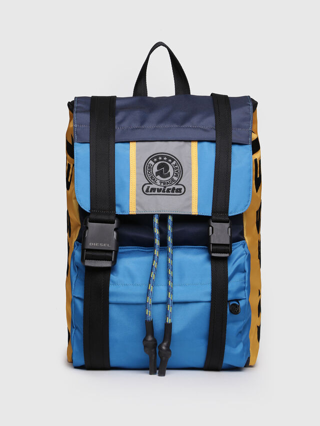 Diesel - M-INVICOLAB BACK I, Blue/Yellow - Backpacks - Image 1