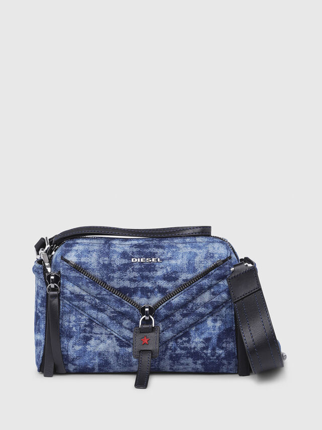 Diesel - LE-ZIPPER CROSSBODY, Blue/White - Crossbody Bags - Image 1