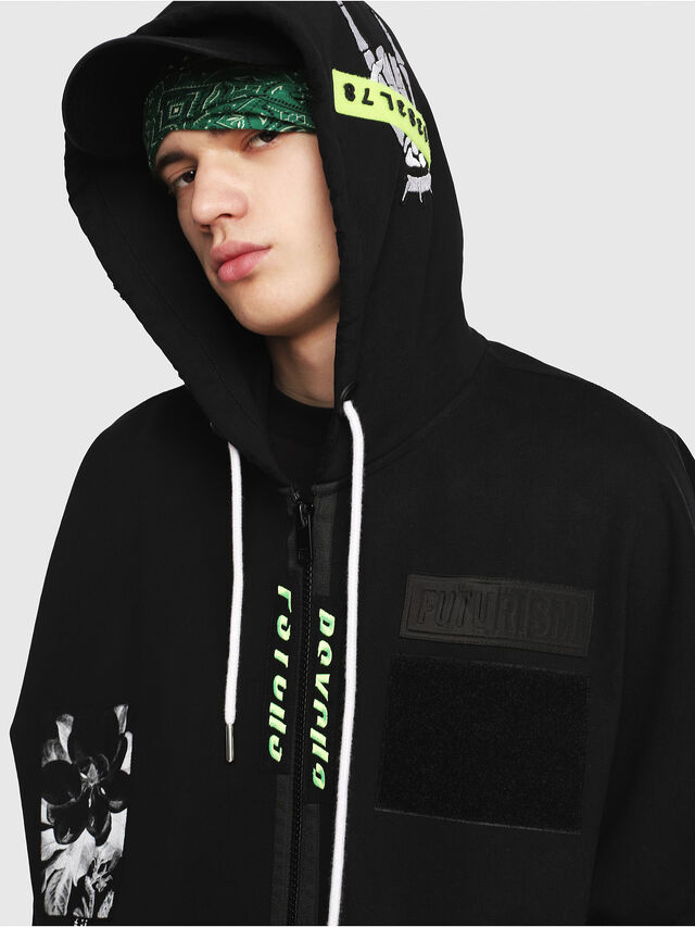Diesel - S-MAKI-ZIP, Black/Green - Sweatshirts - Image 4