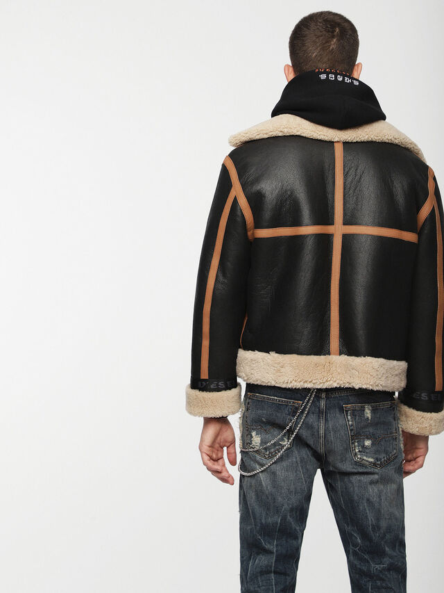 Diesel - L-FOLSON, Black/Brown - Leather jackets - Image 2
