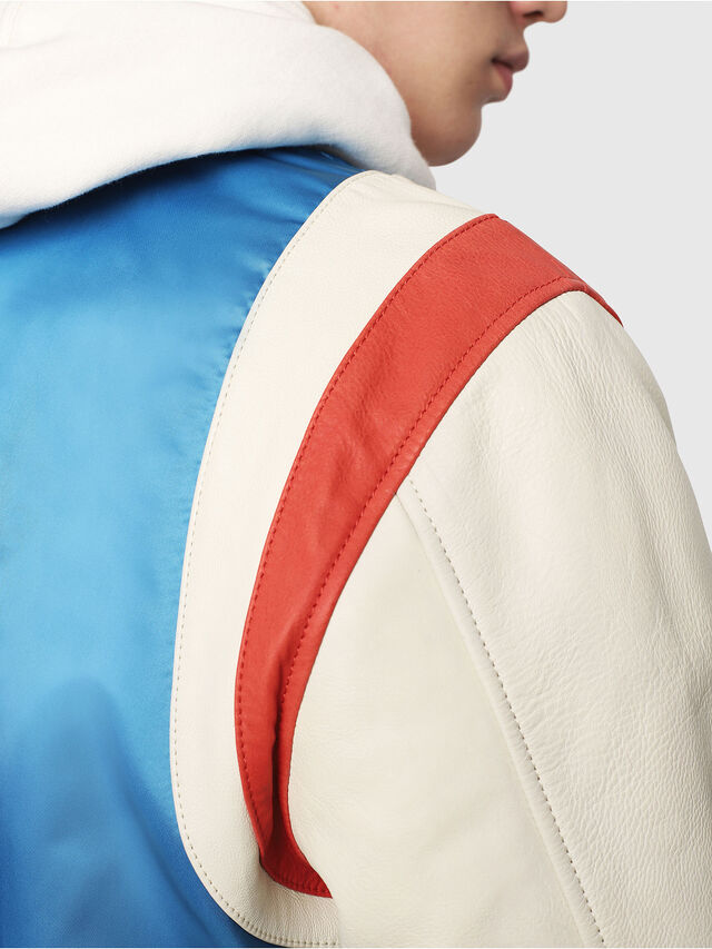 Diesel - L-HARU, White/Red/Blue - Leather jackets - Image 4
