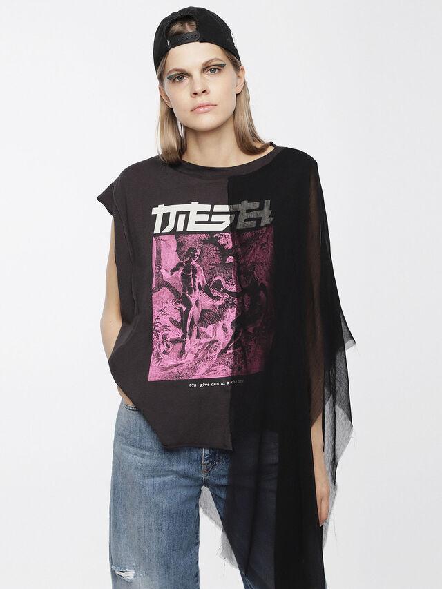 Diesel - T-AZI, Black/Pink - Tops - Image 1