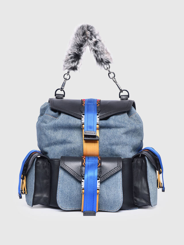 Diesel - MISS-MATCH BACKPACK, Blue Jeans - Backpacks - Image 1