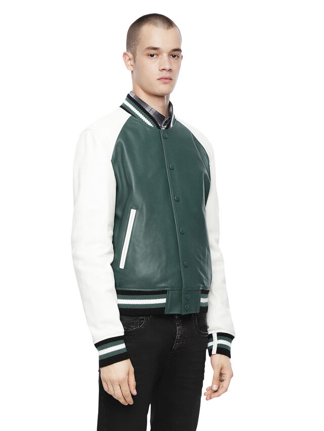 Diesel - LOLLEG, Green - Leather jackets - Image 1