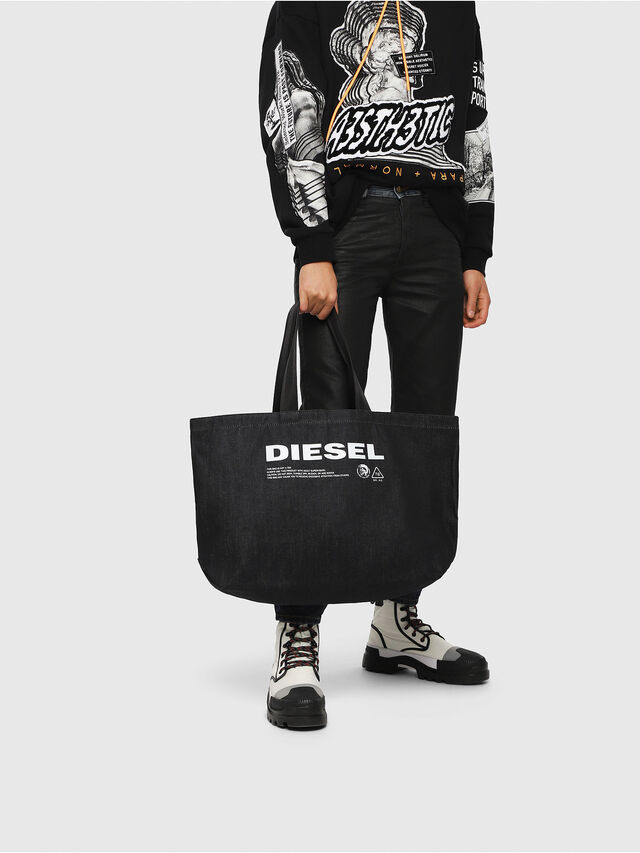 Diesel - D-THISBAG SHOPPER L, Blue Jeans - Shopping and Shoulder Bags - Image 5