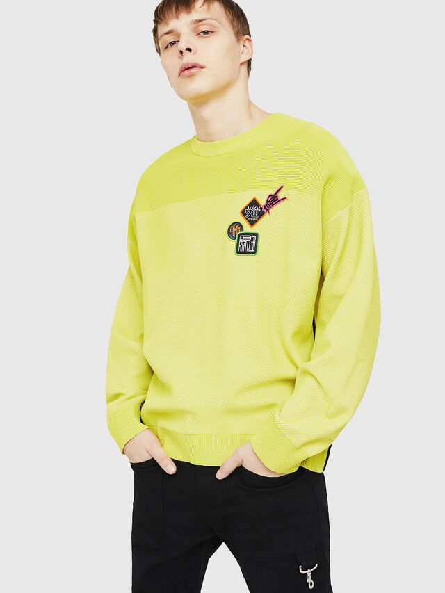 Diesel - K-TREY, Yellow Fluo - Sweaters - Image 1