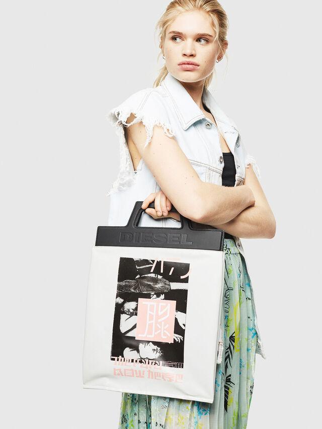 Diesel - F-ARZI SHOPPER, White/Black - Shopping and Shoulder Bags - Image 5