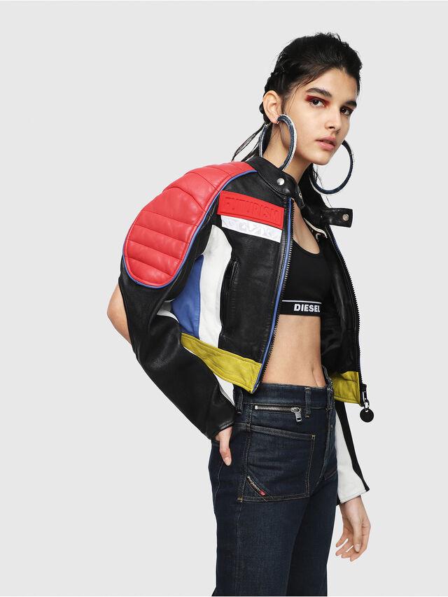 Diesel - L-SKYLAR, Multicolor/Black - Leather jackets - Image 3