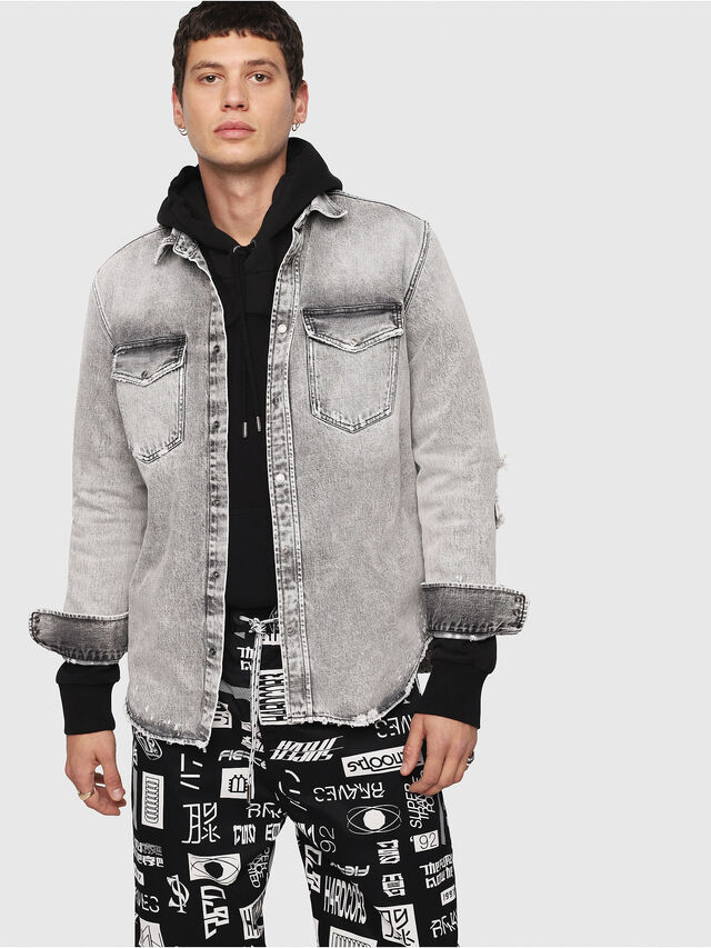 Diesel - D-ROOKE-L, Light Grey - Denim Shirts - Image 1