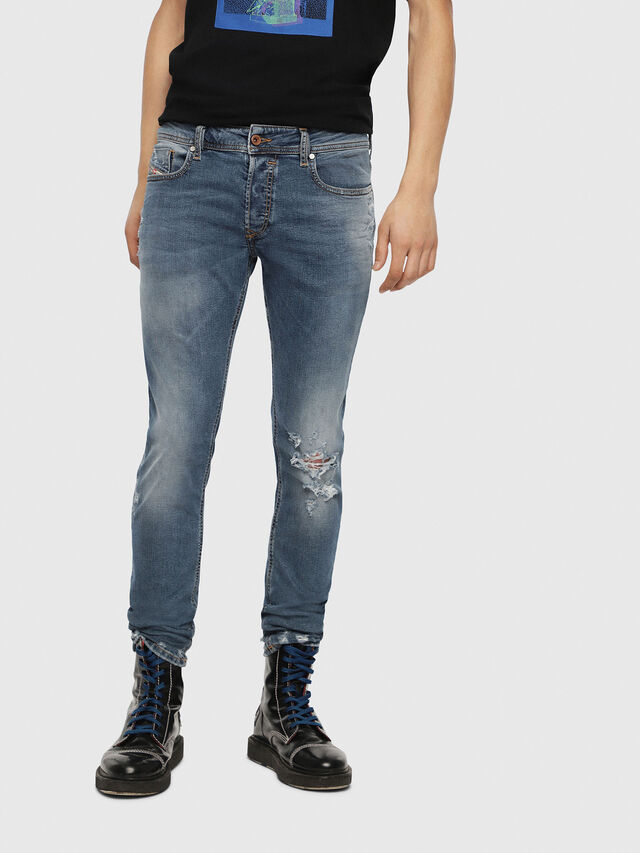 Diesel - Sleenker 085AH, Medium Blue - Jeans - Image 1