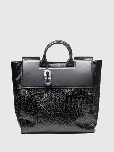 Shopper in logo-debossed faux leather