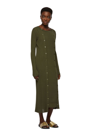 Long ribbed dress with buttoned panels