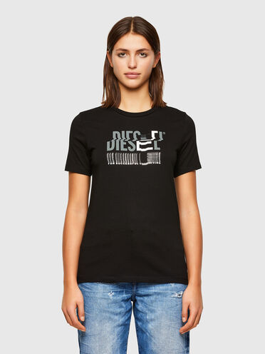 Cotton T-shirt with glitchy logo