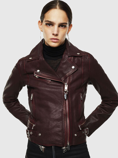 Diesel - L-YLE, Burgundy - Leather jackets - Image 1