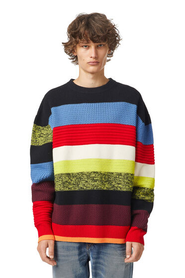 Striped textured-knit pullover in wool