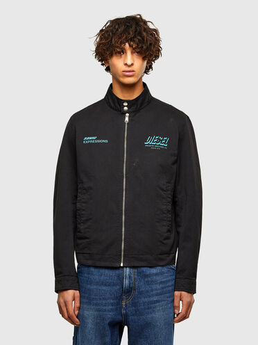 Garment-dyed biker jacket with print