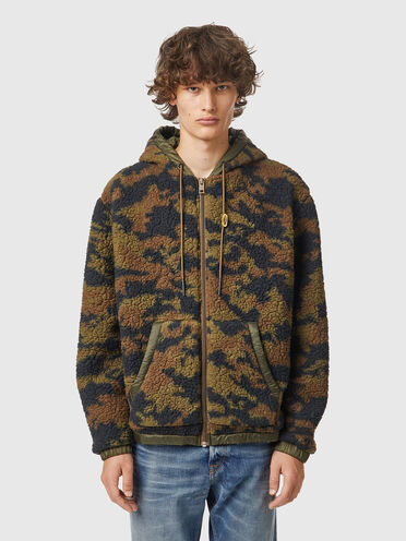 Camo teddy jacket with quilted back
