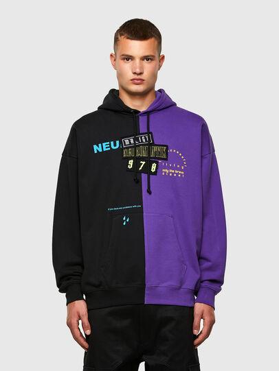 Diesel - S-UMMER-SPLIT-N1, Black/Violet - Sweatshirts - Image 1