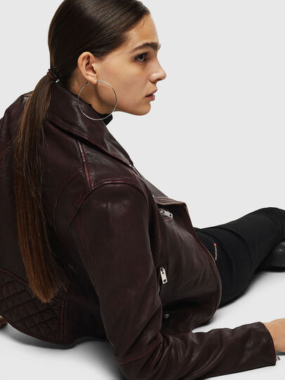 Diesel - L-YLE, Burgundy - Leather jackets - Image 3