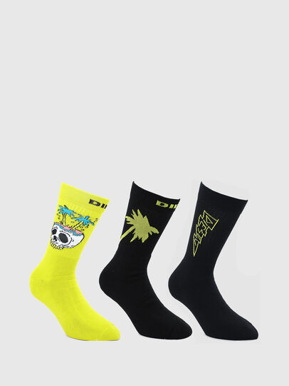 Diesel - SKM-RAY-THREEPACK, Black/Yellow - Socks - Image 1