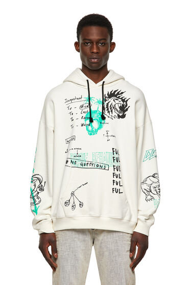 Green Label hoodie with scribbled motifs