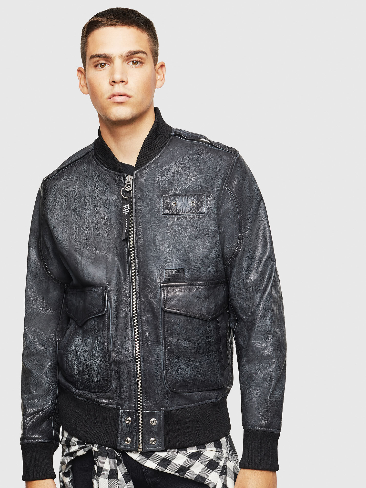 Aviator jacket in aged leather