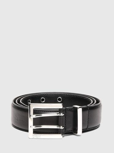 Padded leather belt with eyelets