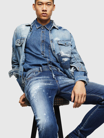 Diesel - Sleenker 0091Y, Medium Blue - Jeans - Image 4