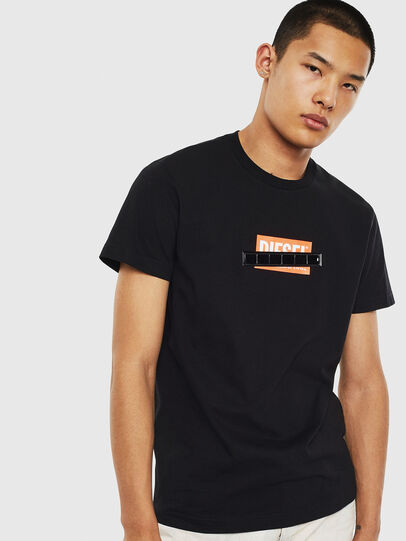 Diesel - T-DIEGO-S7, Black/Orange - T-Shirts - Image 1