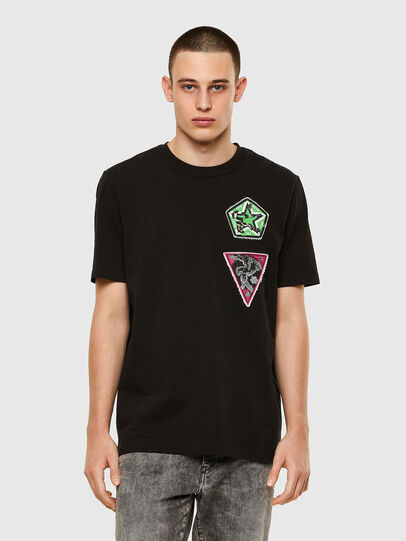 Diesel - T-JUBIND-SLITS-E1, Black - T-Shirts - Image 1
