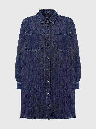 Denim shirt dress with draped back