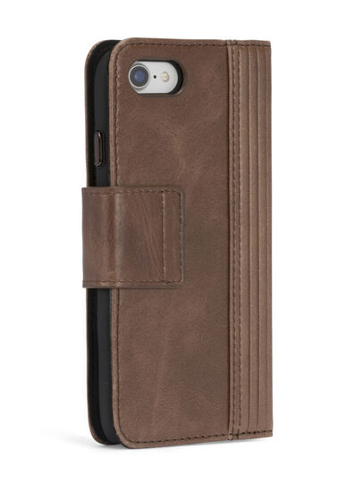 Diesel - BROWN LINED LEATHER IPHONE 8/7 FOLIO, Brown - Flip covers - Image 7