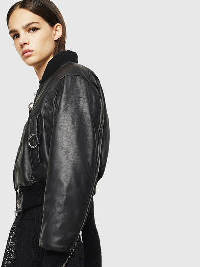 Diesel - L-MANUA, Black - Leather jackets - Image 6