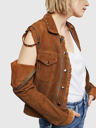 Diesel - L-TAHALI, Brown - Leather jackets - Image 5