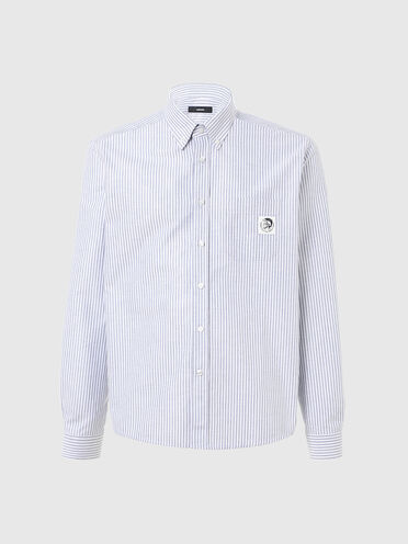 Striped shirt with Mohawk patch