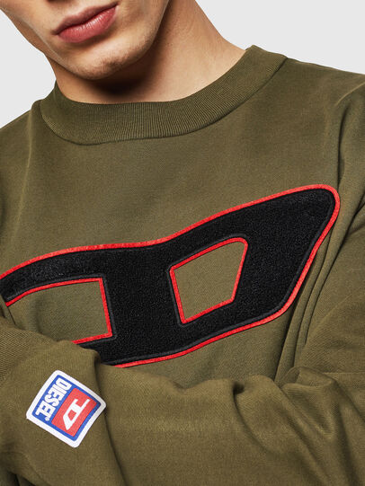 Diesel - S-CREW-DIVISION-D, Military Green - Sweatshirts - Image 3