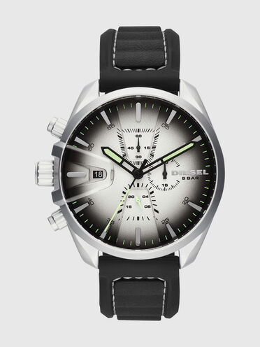 Ms9 black watch with green details, 47 mm